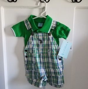 Polo and overall 2 pc set (0-3 mos)